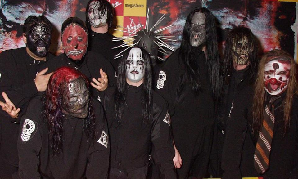 Slipknot at a signing in London in 2004.