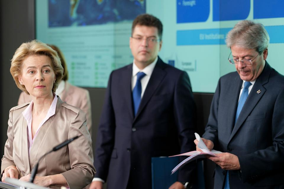 BRUSSELS, BELGIUM - MARCH 2, 2020: President of the European Commission Ursula von der Leyen (L), EU Commissioner for Crisis Management Janez Lenarcic (C) and the EU Commissioner for Economy Paolo Gentiloni (R) are talking in the EU Emergency Response Coordination Centre in regard of the coronavirus crisis on March 2, 2020, in Brussels, Belgium. A coronavirus is one of a number of viruses that cause diseases in mammals and birds. In humans, the viruses cause respiratory infections, including the common cold, which are typically mild, though rarer forms such as SARS, MERS and 2019-nCoV (the cause of the 201920 Wuhan coronavirus outbreak) can be lethal. (Photo by Thierry Monasse/Getty Images) (Photo: Thierry Monasse via Getty Images)