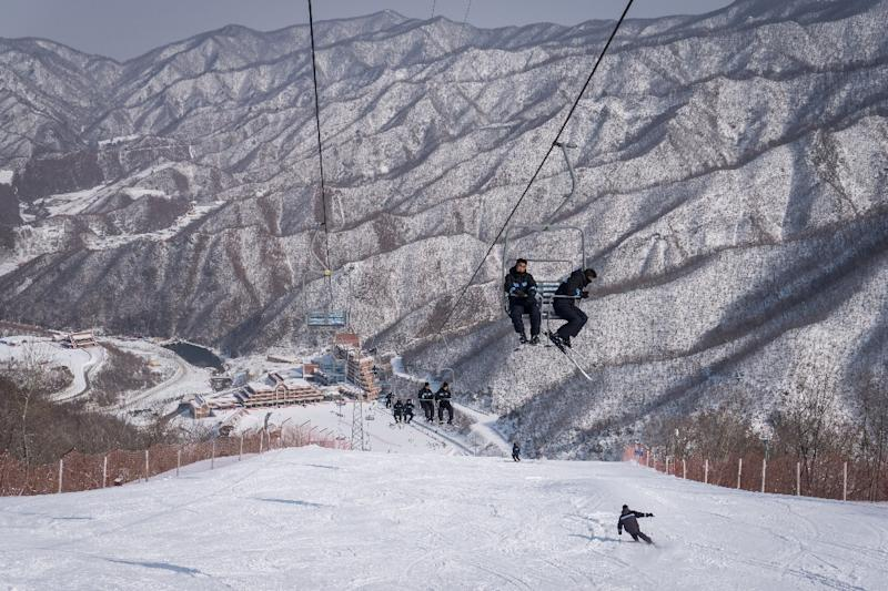 Masikryong ski resort pictured in February 2017: a group of South Korean skiers is to train there