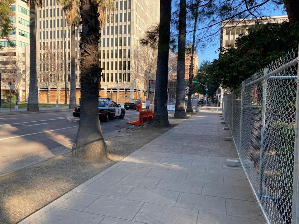 Streets around the Capitol in Sacramento, Calif., were barricaded Sunday, Jan. 17, 2021, amid heightened security ahead of expected protests.