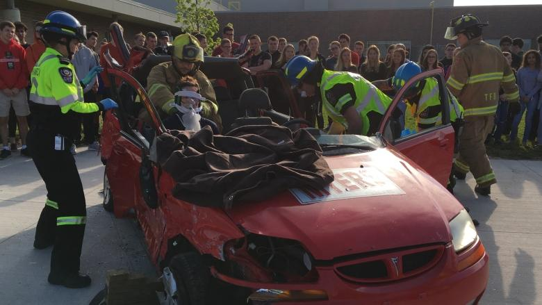 Mock accidents show impact of distracted driving first hand