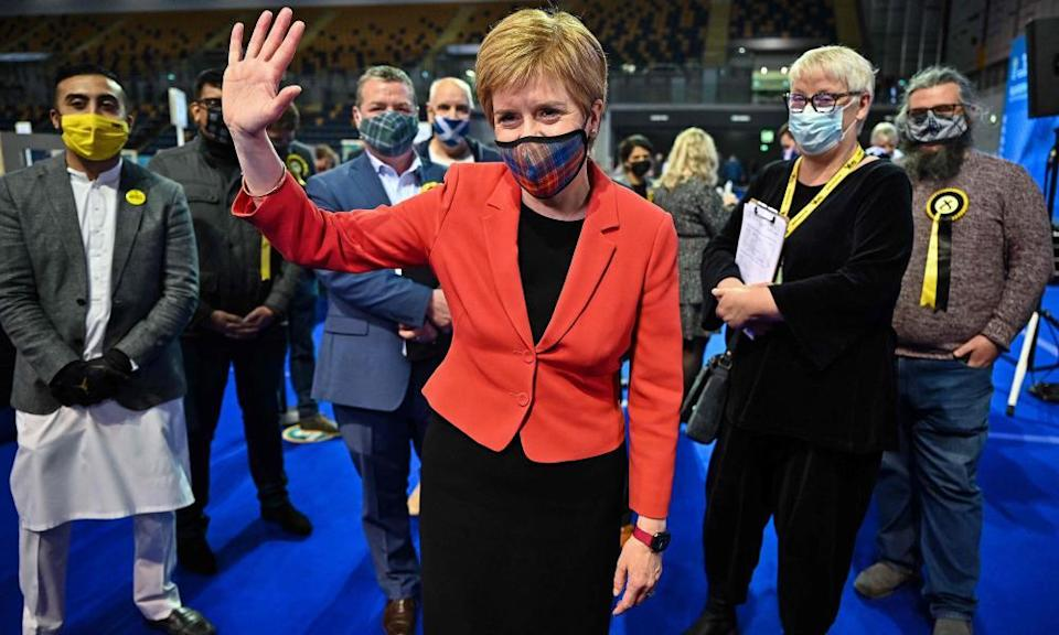 Nicola Sturgeon at poll count acknowledges supporters after being declared the winner of the Glasgow Southside seat.
