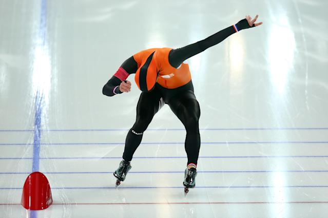 SOCHI, RUSSIA - FEBRUARY 10: Michel Mulder of the Netherlands competes during the Men's 500 m Race 2 of 2 Speed Skating event during day 3 of the Sochi 2014 Winter Olympics at Adler Arena Skating Center on February 10, 2014 in Sochi, Russia. (Photo by Quinn Rooney/Getty Images)