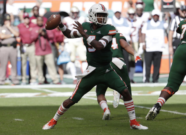 Miami quarterback N'Kosi Perry is under fire again for his social media use. (AP)