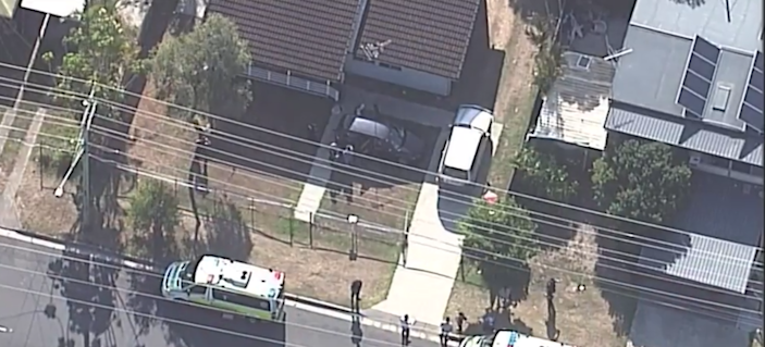 An aerial view of the yard where toddlers Darcey-Helen and Chloe-Ann were found dead in their mother's car amid scorching November temperatures (Screengrab from Nine News)