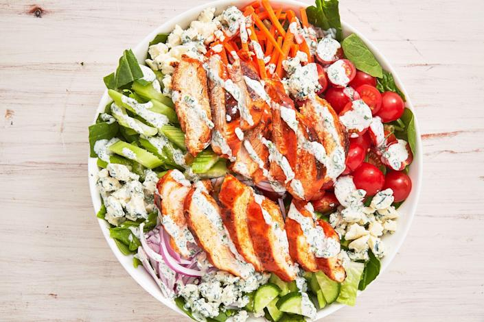 """<p>Don't wait until game day to make buffalo chicken. And don't limit yourself to just wings! When it comes to the magic of buffalo sauce, the possibilities are endless. Think: pizza, sliders, cheesy dips, and even salad. </p><p>Need more dinner ideas? Check out our <a href=""""https://www.delish.com/cooking/recipe-ideas/g2972/chicken-weeknight-dinners/"""" rel=""""nofollow noopener"""" target=""""_blank"""" data-ylk=""""slk:80+ Chicken Dinner Ideas"""" class=""""link rapid-noclick-resp"""">80+ Chicken Dinner Ideas</a>. </p>"""