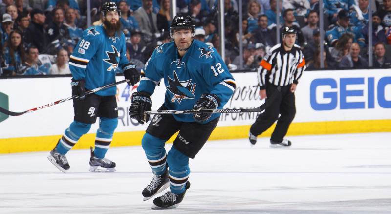 Patrick Marleau, seen in this photo from the 2017 Stanley Cup Playoffs, is returning to the San Jose Sharks. (Photo by Rocky W. Widner/NHL/Getty Images)