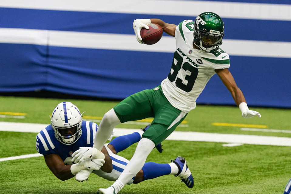 Indianapolis Colts linebacker E.J. Speed (45) tackles New York Jets wide receiver Josh Malone (83) on a kickoff in the second half of an NFL football game in Indianapolis, Sunday, Sept. 27, 2020. (AP Photo/Darron Cummings)