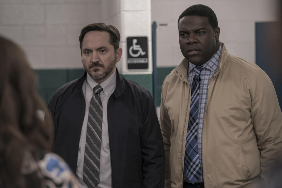 "This image released by HBI Max shows Ben Falcone, left, and Sam Richardson in a scene from ""Superintelligence."" (Hopper Stone/HBO Max via AP)"