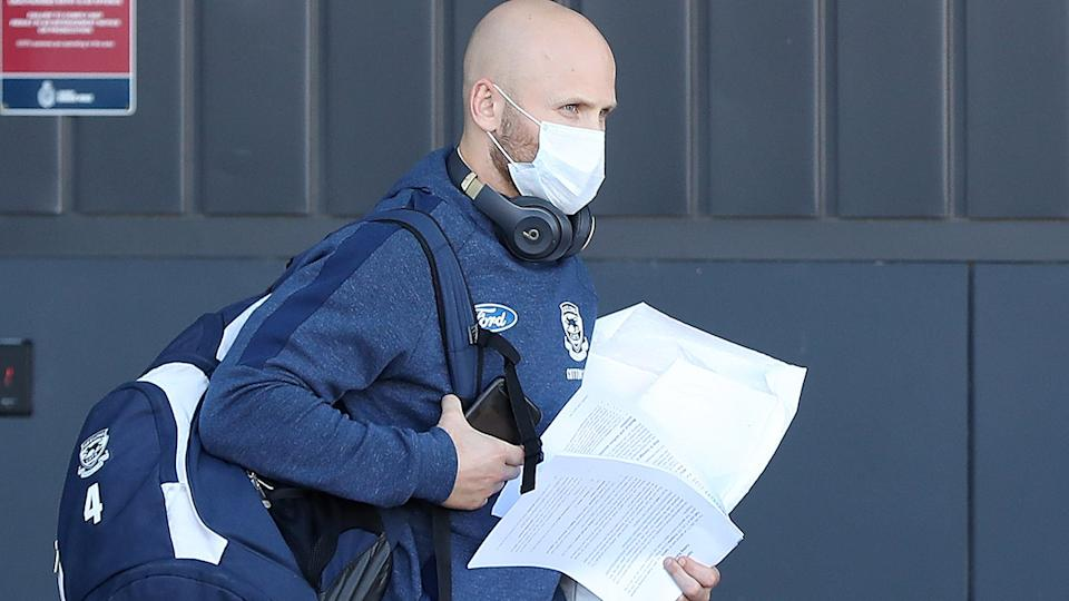 Gary Ablett, pictured here leaving Geelong's hub in Perth.