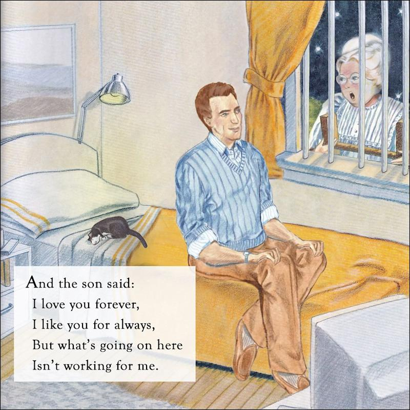 "Topher Payne's rewrite of ""Love You Forever."" He did the illustrations himself, based on Sheila McGraw's original illustrations from the original. (Photo: Topher Payne)"