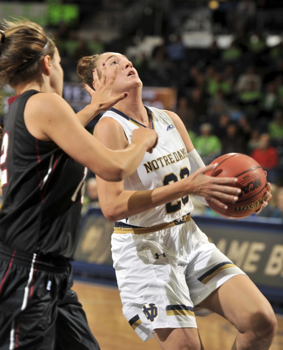 Notre Dame guard Michaela Mabrey puts up a shot in the first half of an NCAA college basketball game against Harvard, Monday, Nov. 24, 2014, in South Bend, Ind. (AP Photo/Joe Raymond)