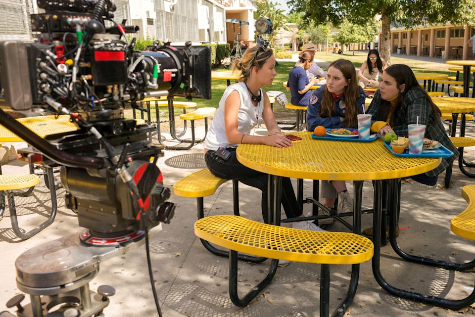 """Director Olivia Wilde and actors Kaitlyn Dever and Beanie Feldstein on the set of Olivia's directorial debut, """"Booksmart."""""""