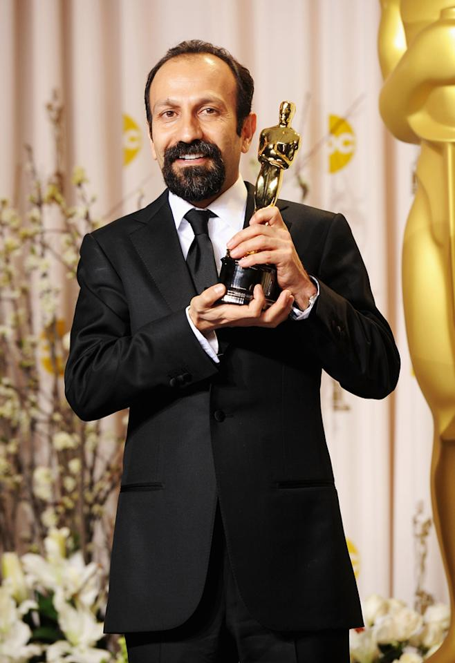 Filmmaker Asghar Farhadi, winner of the Best Foreign Film Award for 'A Separation,' poses in the press room at the 84th Annual Academy Awards held at the Hollywood & Highland Center on February 26, 2012 in Hollywood, California.