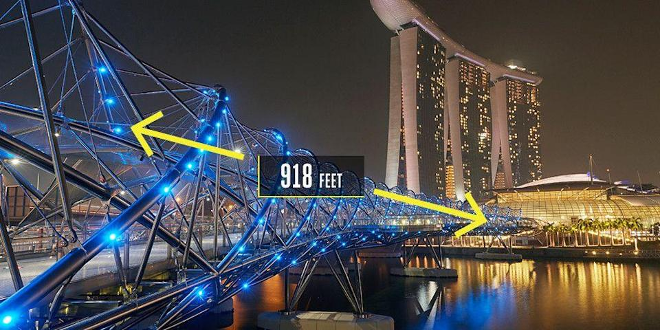 "<p><strong>Singapore</strong></p><p>Inspired by the shape of DNA, the Helix Bridge offers Singapore pedestrians <a href=""https://www.coxarchitecture.com.au/project/the-helix-bridge/"" rel=""nofollow noopener"" target=""_blank"" data-ylk=""slk:918 feet"" class=""link rapid-noclick-resp"">918 feet</a> of architectural intrigue and artistic expression. The bridge in Marina Bay uses multiple styles of steel to curve and sweep, opening up at five points for viewing platforms. The steel tubes serve as the visual spectacle. If straightened and laid end-to-end, they would stretch 7,380 feet.</p>"