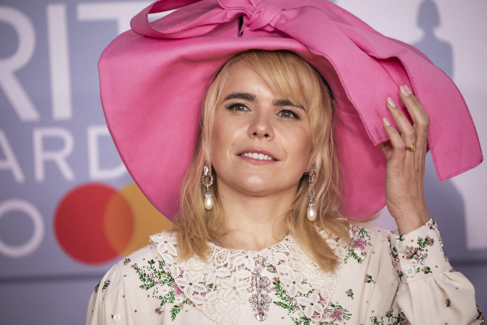 Paloma Faith poses for photographers upon arrival at Brit Awards 2020 in London, Tuesday, Feb. 18, 2020.(Photo by Vianney Le Caer/Invision/AP)