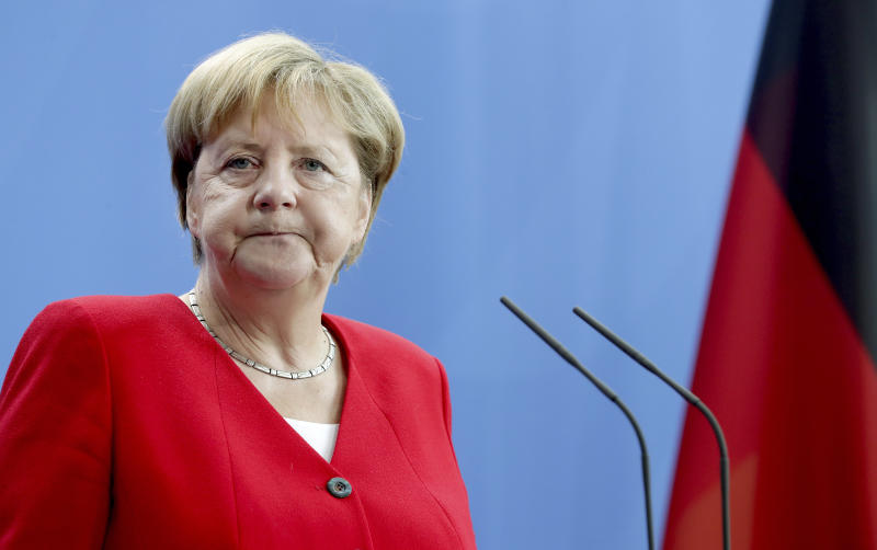 German Chancellor Angela Merkel attends a joint press conference with Greece's Prime Minister Kyriakos Mitsotakis as part of a meeting at the chancellery in Berlin, Germany, Thursday, Aug. 29, 2019. (AP Photo/Michael Sohn)