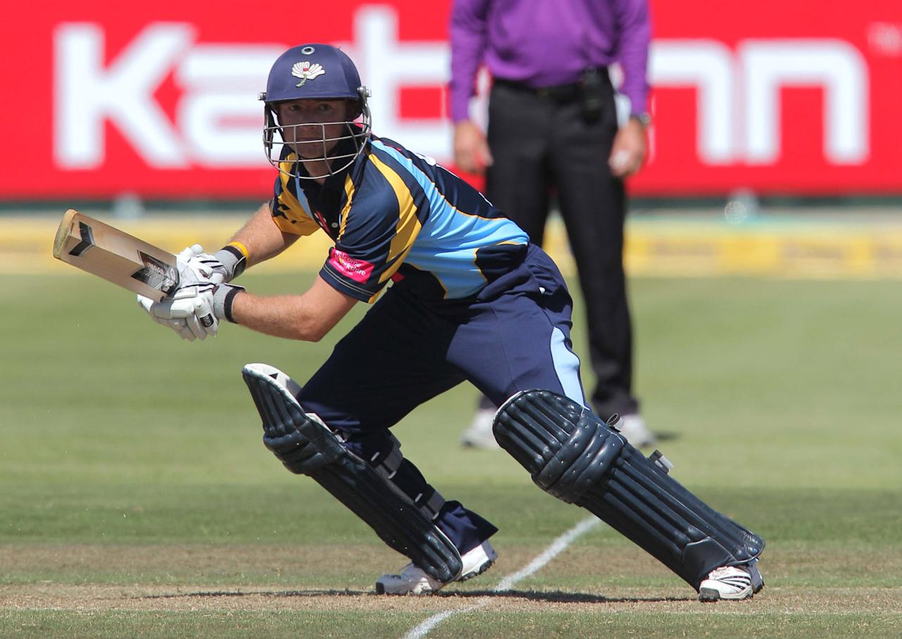 CAPE TOWN, SOUTH AFRCA - OCTOBER 16:  Adam Lyth of Yorkshire Carnegie in action during the Champions League twenty20 match between Sydney Sixers (Australia) and Yorkshire (England) at Sahara Park Newlands on October 16, 2012 in Cape Town, South Africa. (Photo by Carl Fourie / Gallo Images/Getty Images)