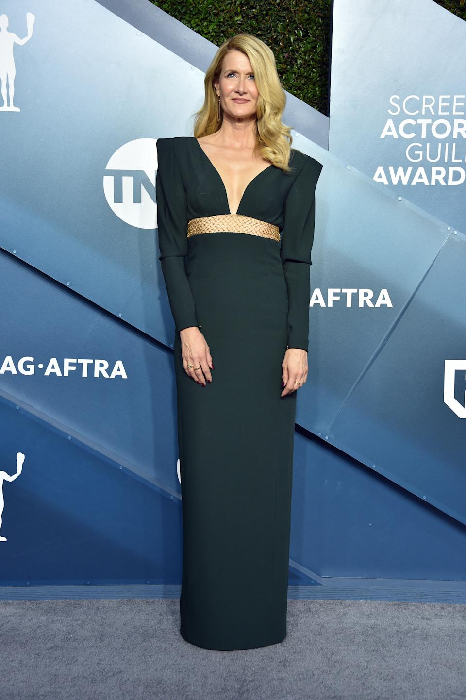 """The """"Marriage Story"""" star went for a structured hunter green ensemble with braided gold detail by Stella McCartney."""