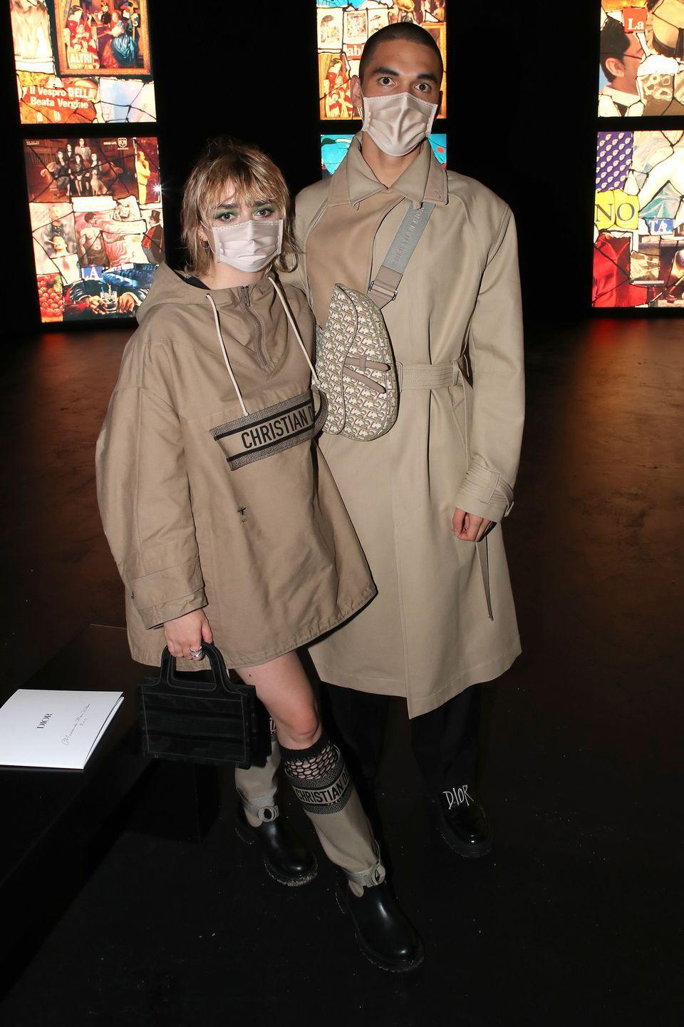 <p><strong>29 September </strong>Maisie Williams and Reuben Selby pose together at the Dior spring/summer 2021 show during Paris Fashion Week<strong>. </strong></p>