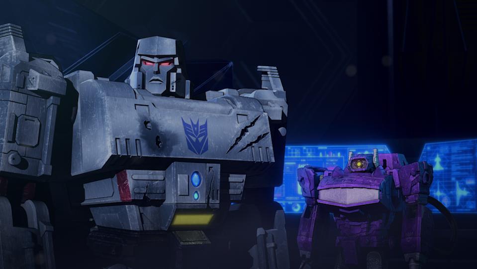 Megatron (Jason Marnocha) convenes with Shockwave (Todd Haberkorn) in  Transformers: War for Cybertron Chapter 2: Earthrise. (PHOTO: Netflix)