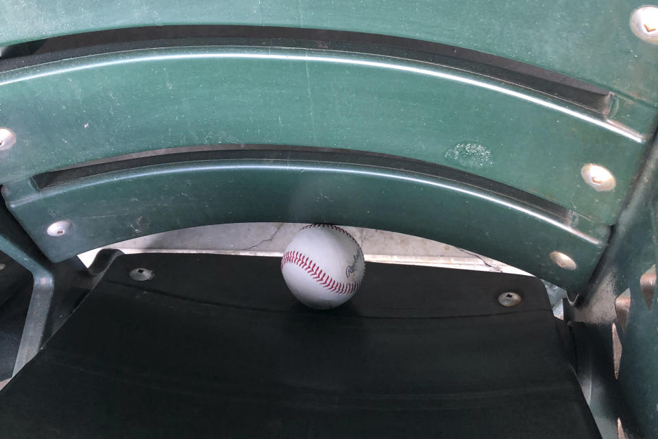 A baseball sits in a seat at Oracle Park after a baseball game between the San Francisco Giants and the Seattle Mariners, Thursday, Sept. 17, 2020, in San Francisco. (AP Photo/Janie McCauley)