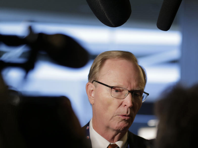 New York Giants owner John Mara speaks to reporters during the NFL football fall meetings in New York, Tuesday, Oct. 16, 2018. (AP Photo/Seth Wenig)