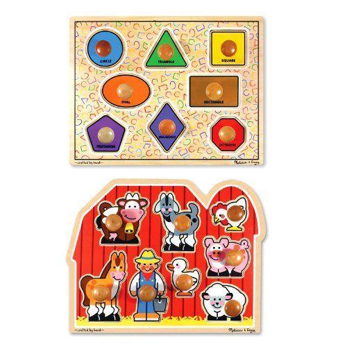 """<p><strong>Melissa & Doug</strong></p><p>amazon.com</p><p><strong>$27.96</strong></p><p><a href=""""https://www.amazon.com/dp/B000FQBCFQ?tag=syn-yahoo-20&ascsubtag=%5Bartid%7C10055.g.5152%5Bsrc%7Cyahoo-us"""" rel=""""nofollow noopener"""" target=""""_blank"""" data-ylk=""""slk:Shop Now"""" class=""""link rapid-noclick-resp"""">Shop Now</a></p><p>Teach her colors, shapes, and """"moos"""" and """"baas"""" with these brightly colored, wooden puzzle pieces. The large knobs on each piece make them <strong>easier for little hands to grab</strong>.</p>"""