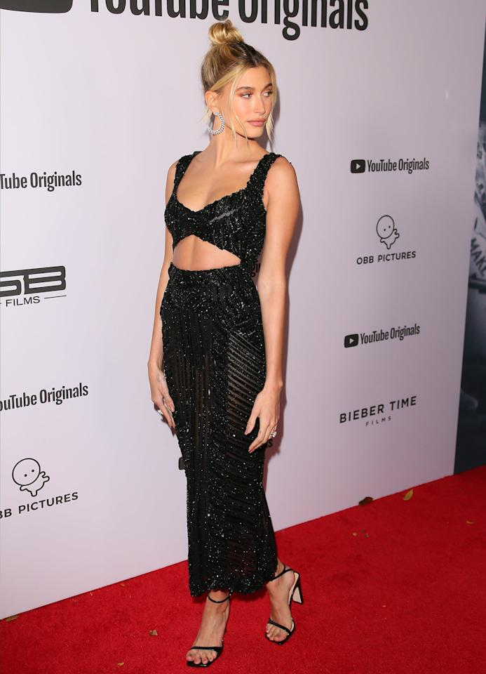 """<p>Hailey Bieber looked devastatingly sexy in <a href=""""https://www.popsugar.com/fashion/hailey-bieber-black-zuhair-murad-dress-2020-47154415"""" class=""""ga-track"""" data-ga-category=""""Related"""" data-ga-label=""""https://www.popsugar.com/fashion/hailey-bieber-black-zuhair-murad-dress-2020-47154415"""" data-ga-action=""""In-Line Links"""">a Zuhair Murad beaded number</a> for her first red carpet appearance with Justin Bieber since getting married.</p>"""