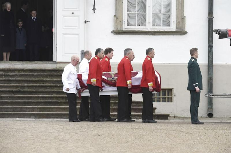 His white coffin was pictured leaving Fredensborg Palace. Photo: Getty Images