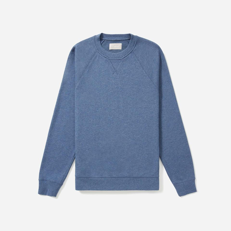 """<p><strong>Everlane</strong></p><p>everlane.com</p><p><strong>$29.00</strong></p><p><a href=""""https://go.redirectingat.com?id=74968X1596630&url=https%3A%2F%2Fwww.everlane.com%2Fproducts%2Fmens-ltwt-french-terry-crew-heather-blue&sref=https%3A%2F%2Fwww.esquire.com%2Fstyle%2Fmens-fashion%2Fg33391536%2Feverlane-summer-sale%2F"""" rel=""""nofollow noopener"""" target=""""_blank"""" data-ylk=""""slk:Buy"""" class=""""link rapid-noclick-resp"""">Buy</a></p><p>French terry might be the most WFH-ready fabric around. </p>"""