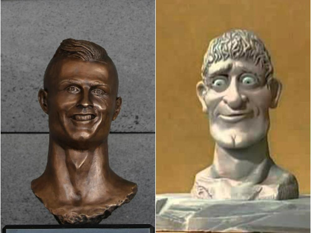 Spot the difference: The Art Attack head and CR7 (Getty)