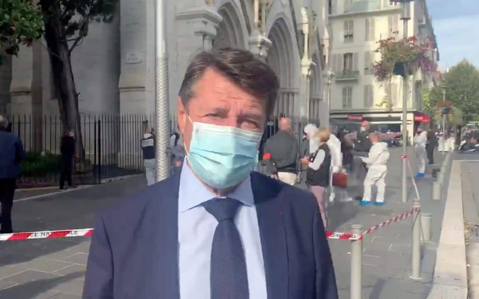 Nice Mayor Christian Estrosi gives a statement at the site of a knife attack in a church in Nice - TWITTER / @CESTROSI/TWITTER / @CESTROSI via REUTERS