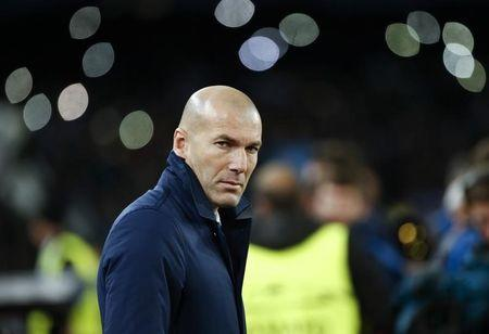 Football Soccer - Napoli v Real Madrid - UEFA Champions League Round of 16 Second Leg - San Paolo stadium, Naples, Italy - 07/03/17 - Real Madrid's coach Zinedine Zidane looks on before the start of the match against Napoli . REUTERS/Ciro De Luca