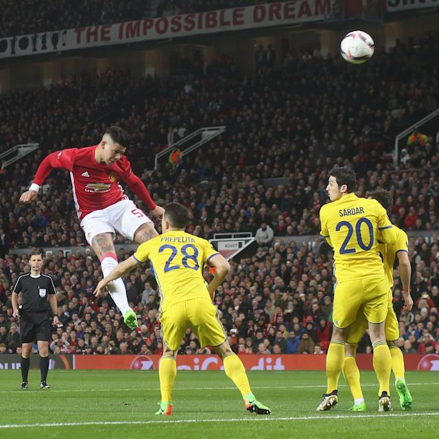 <span>Rojo produced a mighty leap to force the Rostov keeper into a smart save in the first-half</span> <span>Credit: John Peters/Man Utd via Getty Images </span>