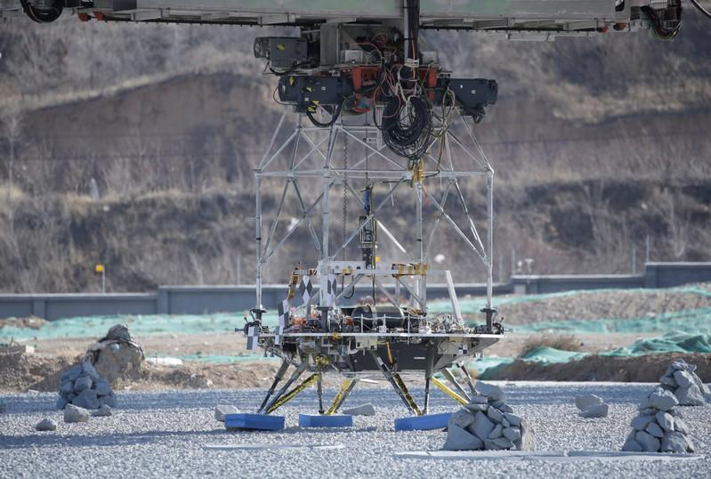 A lander for China's Mars mission is seen before a hovering-and-obstacle avoidance test at a test facility in Huailai