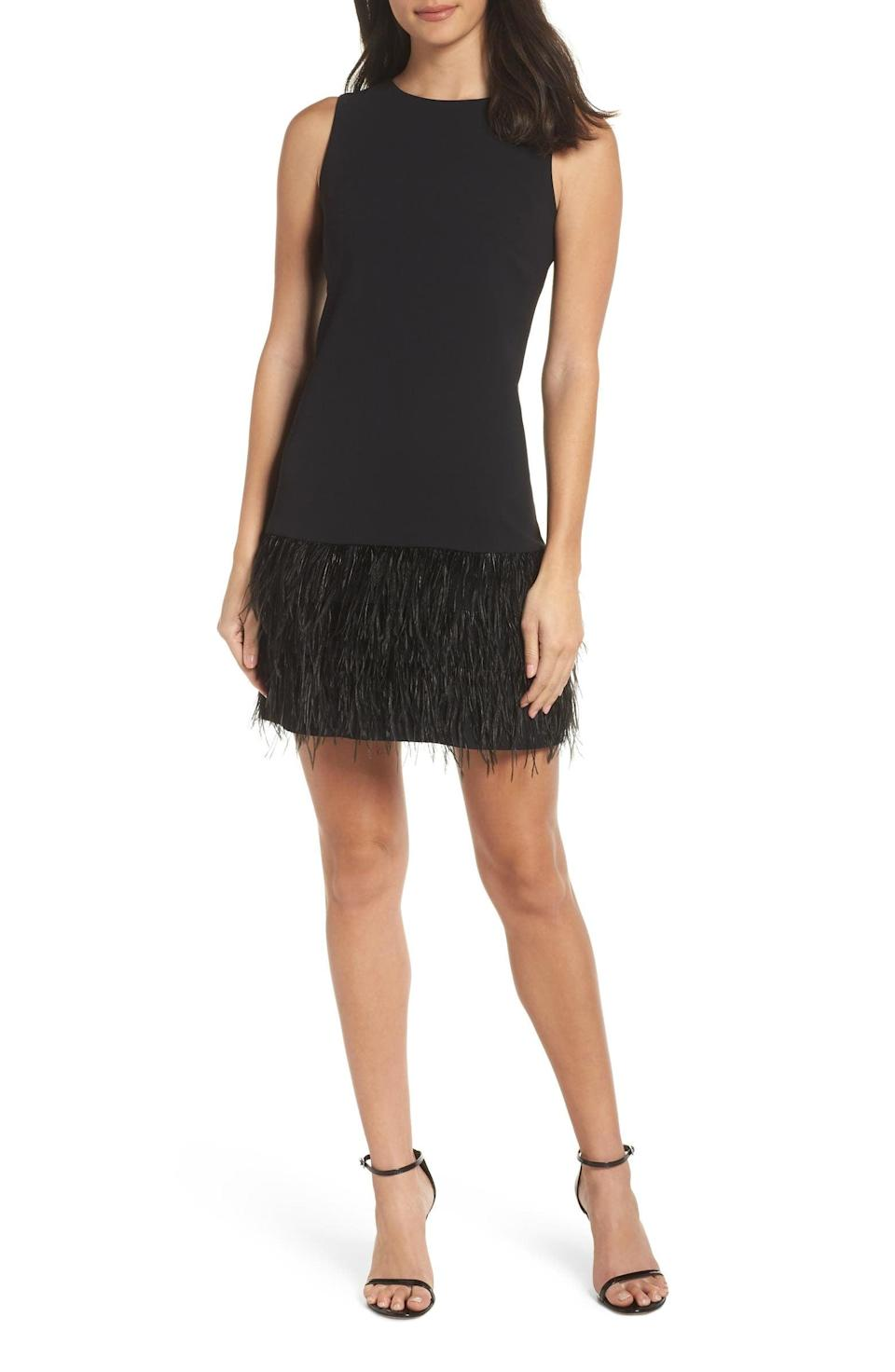 <p>This <span>Sam Edelman Feather Hem Sheath Dress</span> ($95, originally $158) is a festive pick for upcoming Zoom parties.</p>