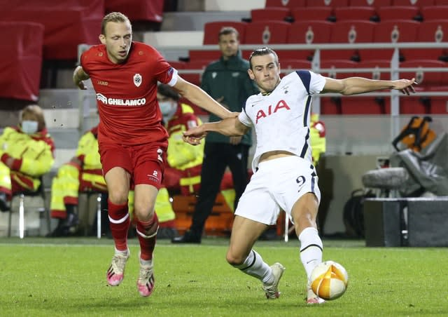 Gareth Bale, right, played 58 minutes for Spurs against Royal Antwerp, but looked off the pace