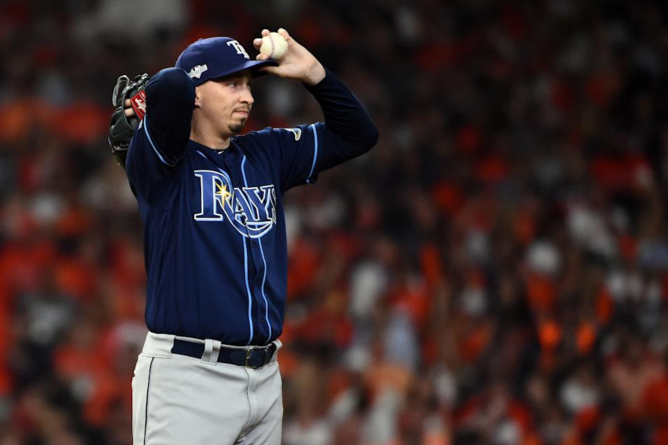 HOUSTON, TX - OCTOBER 10: Blake Snell #4 of the Tampa Bay Rays pitches during Game 5 of the ALDS between the Tampa Bay Rays and the Houston Astros at Minute Maid Park on Thursday, October 10, 2019 in Houston, Texas. (Photo by Cooper Neill/MLB Photos via Getty Images)