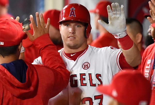 The Los Angeles Angels won 13 of their first 18 games in August in order to get back in the AL wild-card race. (Photo by Jayne Kamin-Oncea/Getty Images)