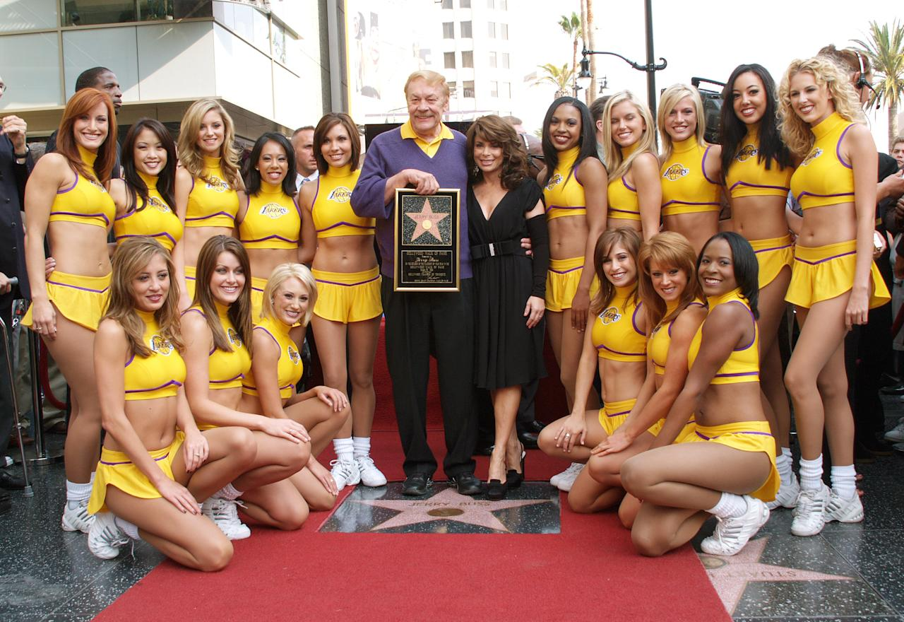 <p>HOLLYWOOD - OCTOBER 30: Dr. Jerry Buss (C), poses with former Laker girl Paula Abdul and the current Laker Girls after Buss is honored with a television star on the Hollywood Walk of Fame on October 30, 2006 in Hollywood, California. NOTE TO USER: User expressly acknowledges and agrees that, by downloading and or using this photograph, User is consenting to the terms and conditions of the Getty Images License Agreement. Mandatory Copyright Notice: Copyright 2006 NBAE (Photo by Andrew D. Bernstein/NBAE/Getty Images)</p>