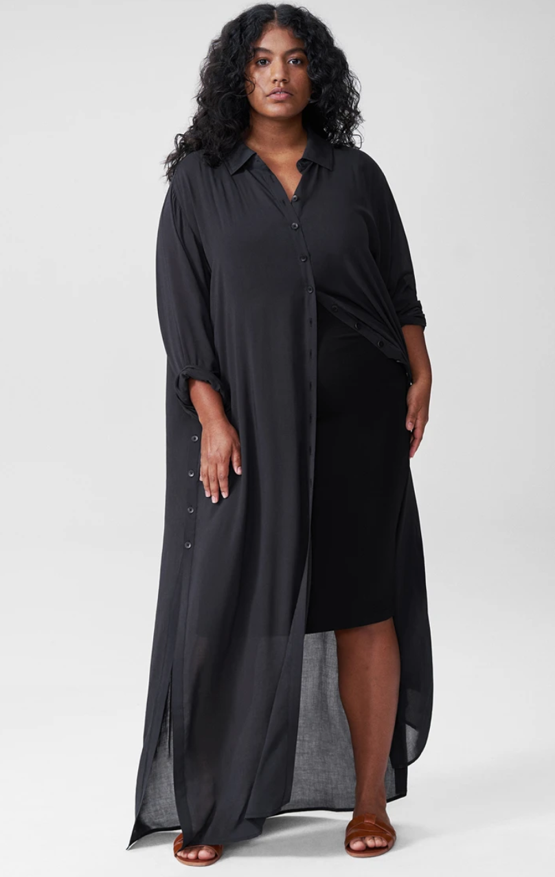 """<br><br><strong>Universal Standard</strong> Nailah Button Down Tunic, $, available at <a href=""""https://go.skimresources.com/?id=30283X879131&url=https%3A%2F%2Fwww.universalstandard.com%2Fproducts%2Fnailah-button-down-tunic-black"""" rel=""""nofollow noopener"""" target=""""_blank"""" data-ylk=""""slk:Universal Standard"""" class=""""link rapid-noclick-resp"""">Universal Standard</a>"""