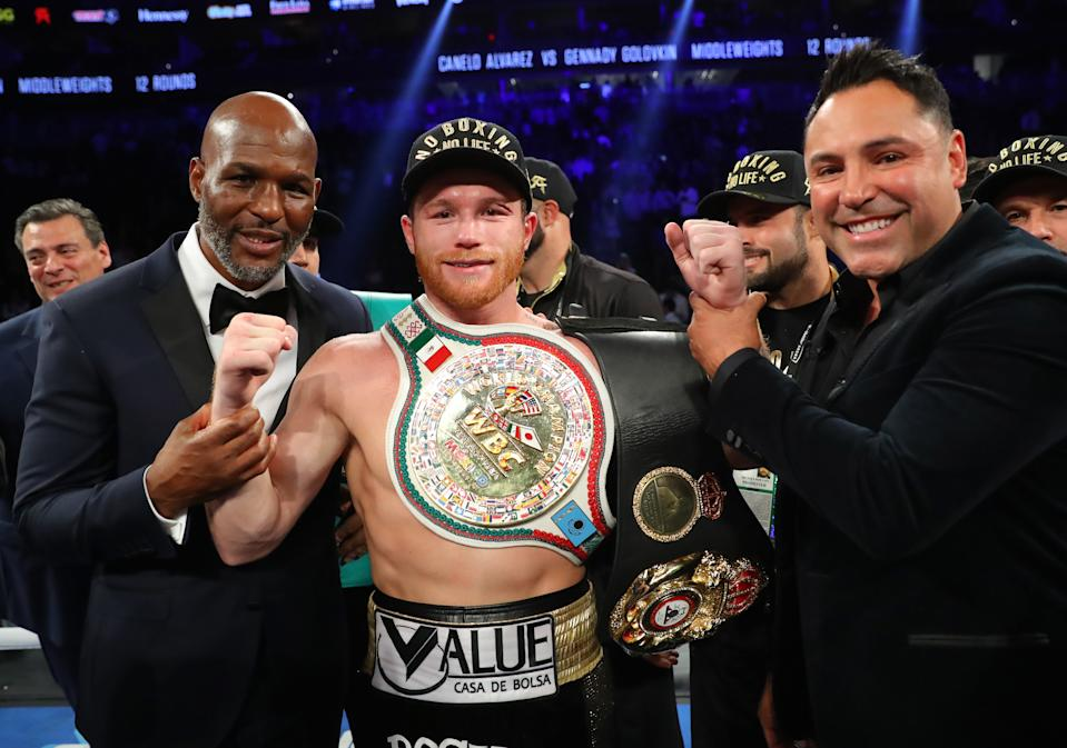 LAS VEGAS, NV - SEPTEMBER 15:   Canelo Alvarez reacts after his majority decision victory over Gennady Golovkin in their middleweight championship bout at T-Mobile Arena on September 15, 2018 in Las Vegas, Nevada.  (Photo by Tom Hogan/Golden Boy/Getty Images)