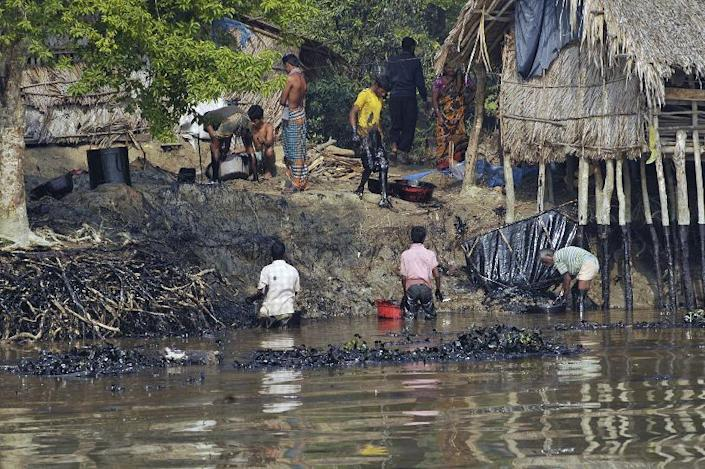 Bangladeshi villagers try to collect oil that spread in the river after an oil tanker sank in the Shela River in Mongla, in a photo taken on December 11, 2014 and received from the World Conservation Society on December 12 (AFP Photo/World Conservation Society)