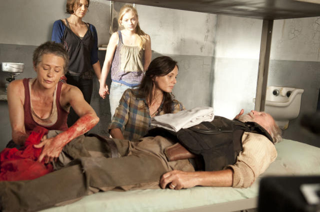 "Carol (Melissa Suzanne McBride), Maggie Greene (Lauren Cohan), Beth Greene (Emily Kinney) and Lori Grimes (Sarah Wayne Callies) in ""The Walking Dead"" episode, ""Sick."""