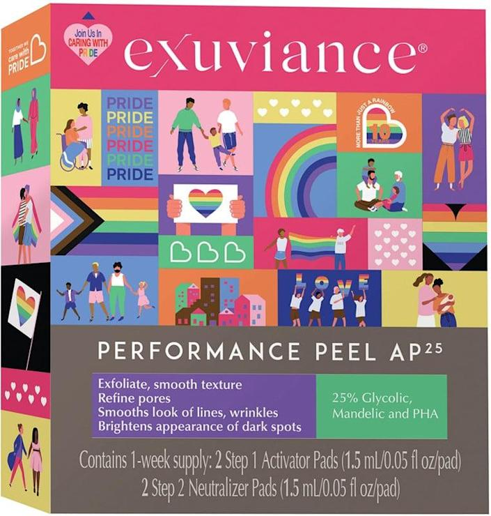 <p>Using the <span>Exuviance Care With Pride Exuviance Performance Peel AP25</span> ($14) once a week will make you look glowy. As a part of the Care with Pride initiative, a donation will be made to Family Equality. </p>