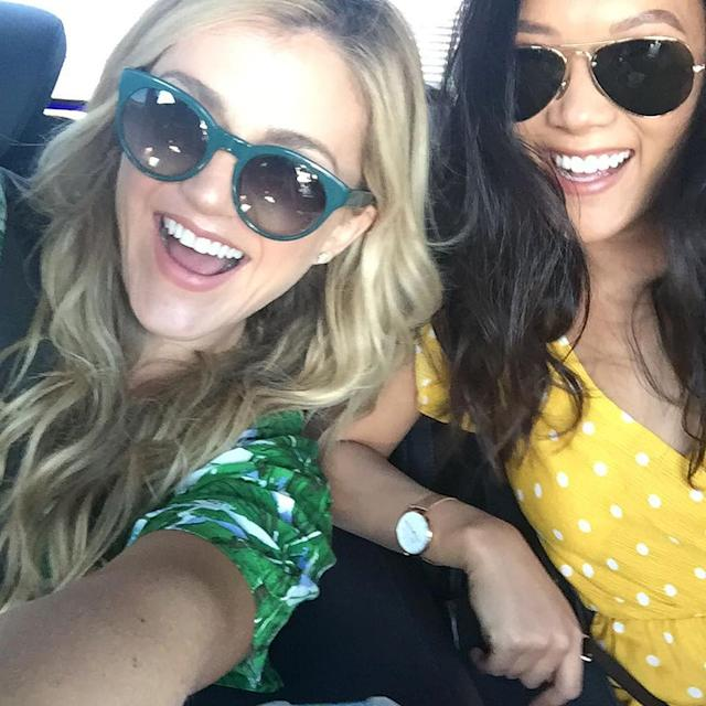 <p>Since we're neighbors my castmate @jessmarlo and I are sharing a car for the long drive to the barge. I went for polkadots and she went jungle! We somehow always unknowingly wear opposite colors……girl ESP? — @allymaki #Wrecked </p>