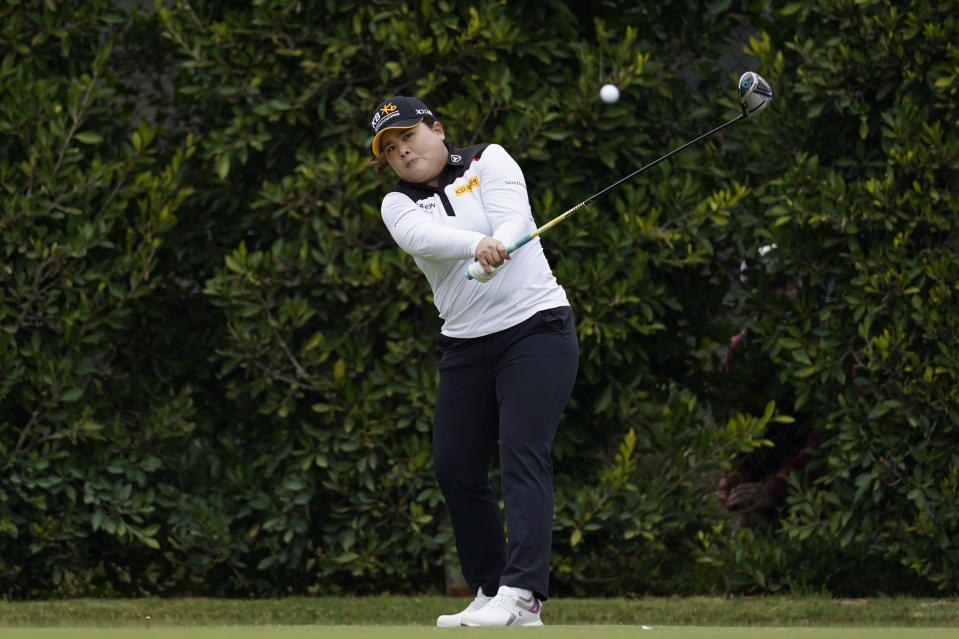 Inbee Park tees off at the second hole during the second round of the LPGA's Hugel-Air Premia LA Open golf tournament at Wilshire Country Club Thursday, April 22, 2021, in Los Angeles. (AP Photo/Ashley Landis)