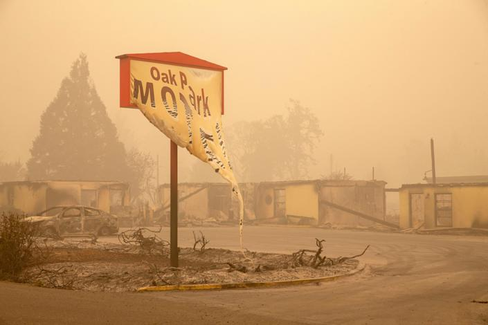 The Oak Park Motel was destroyed by the flames of the Beachie Creek Fire east of Salem, Oregon.