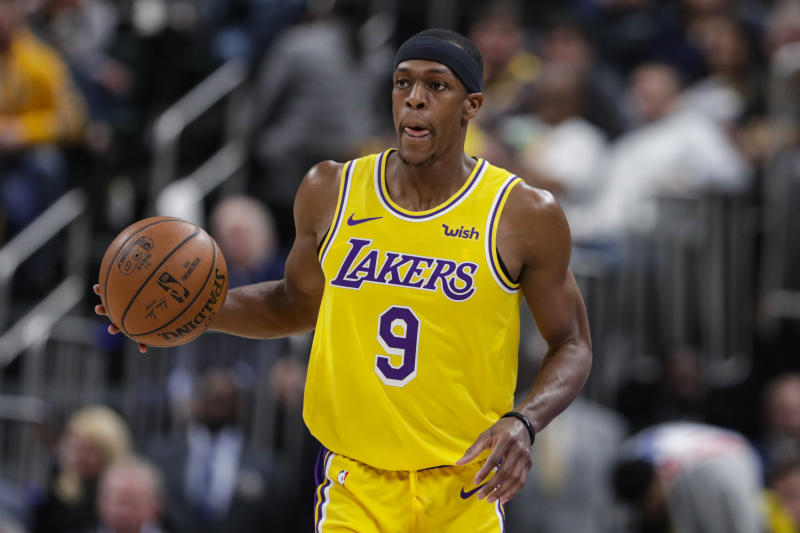 Los Angeles Lakers guard Rajon Rondo (9) plays against the Indiana Pacers during the first half of an NBA basketball game in Indianapolis, Tuesday, Dec. 17, 2019. (AP Photo/Michael Conroy)
